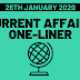 Current Affairs One-Liner: 26th January 2020