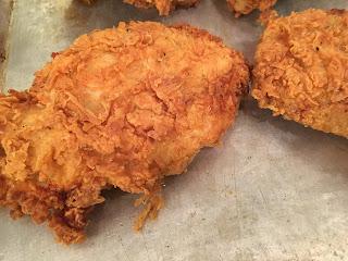 Flour, buttermilk, flour method breaded chicken.
