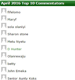 top 10 commentators april 2016