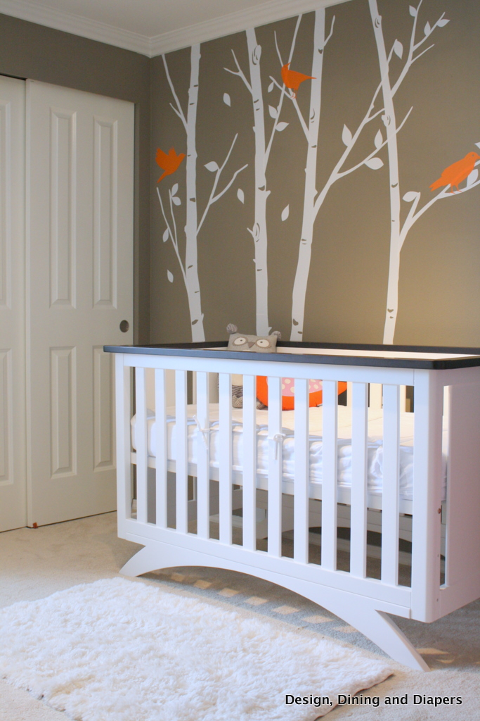 gray rocking chair for nursery backjack anywhere gender neutral bird-inspired - design dazzle