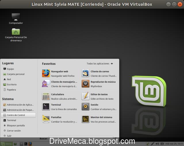 Entramos a Centro de Control para personalizar Linux Mint MATE