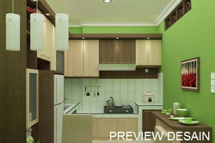 Contoh preview desain dapur kitchenset nuansa hijau