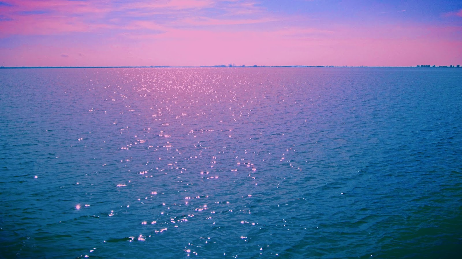 Sparkling Blue Ocean + Pink Bokeh Lights