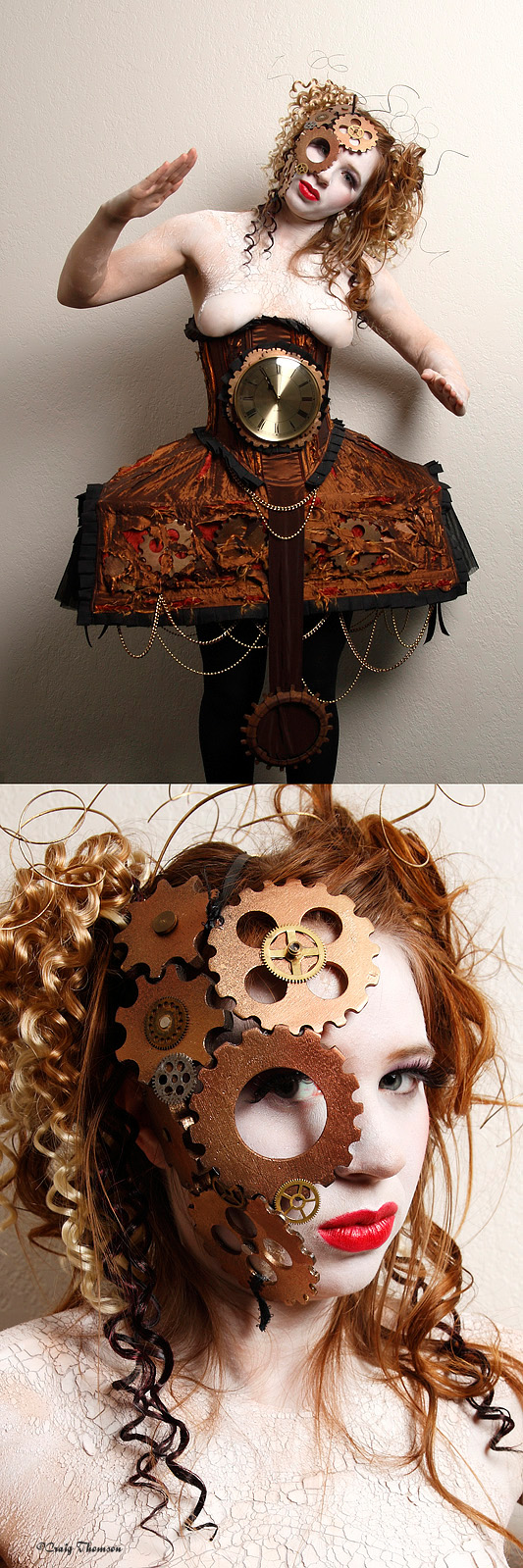 Steampunk broken mechanical doll costume with wind-up clock, wires in hair, broken porcelain makeup and gears glued to face.