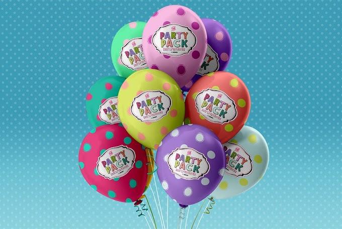 Party Balloons Mockup Free PSD