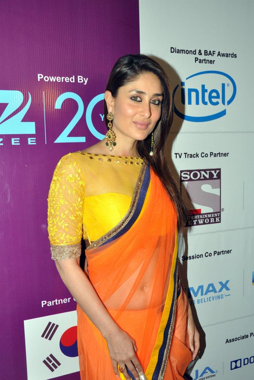 Actress Stills Orange Transparent Modern Saree  Kareena -5214