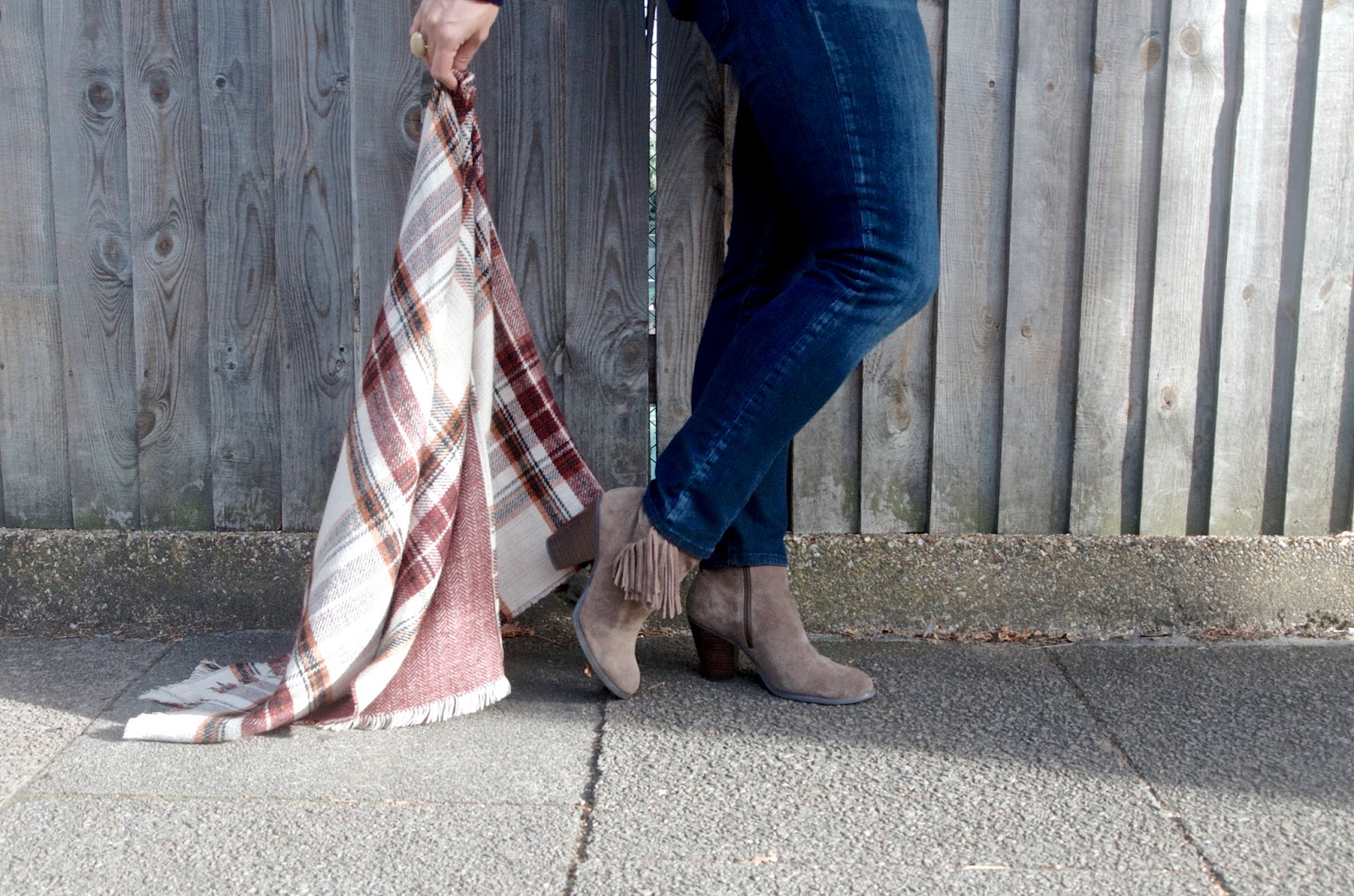 Suede fringe ankle boots and rust plaid poncho