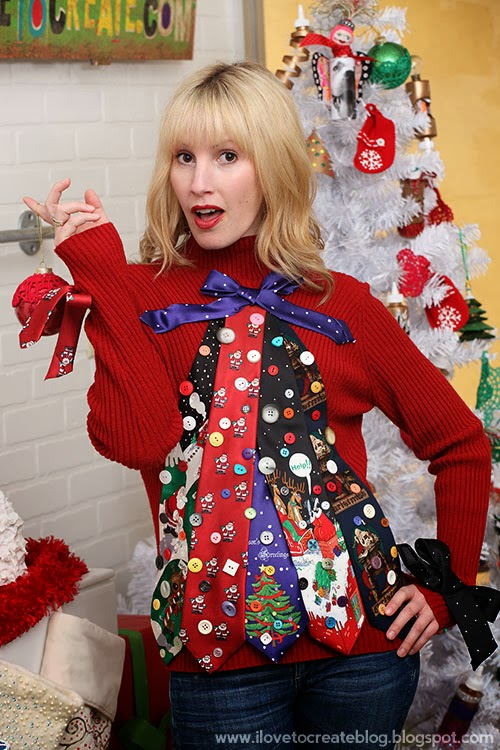 Ugly Tie Christmas Tree Sweater | Christmas Sweater Ideas You Can DIY On A Budget | diy christmas tree sweater