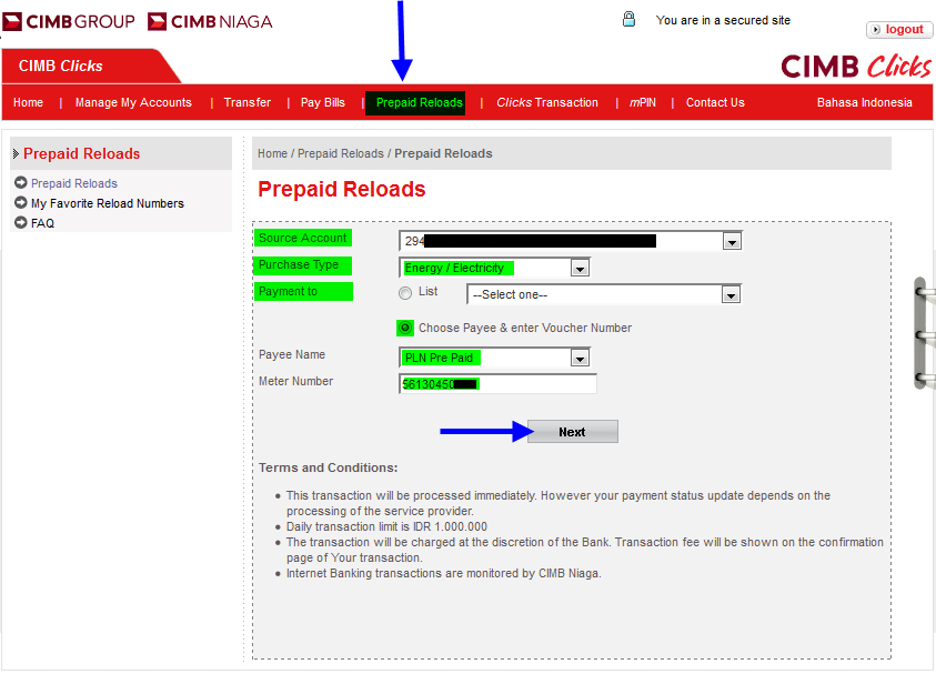Cara Beli Token PLN Secara Online (Internet Banking)