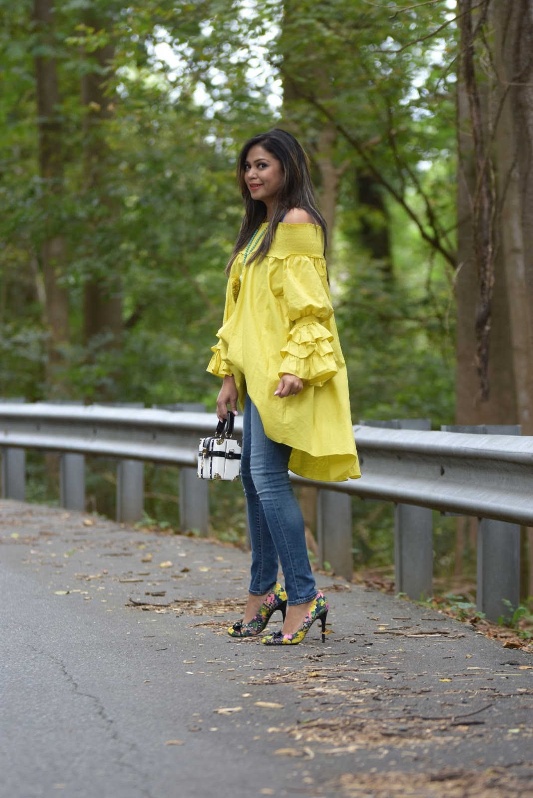 how to wear dress over jeans, fall fashion, baloon sleeves, skinny jeans, colorful pumps, blogger, style, street style, chartreuse dress .jpg