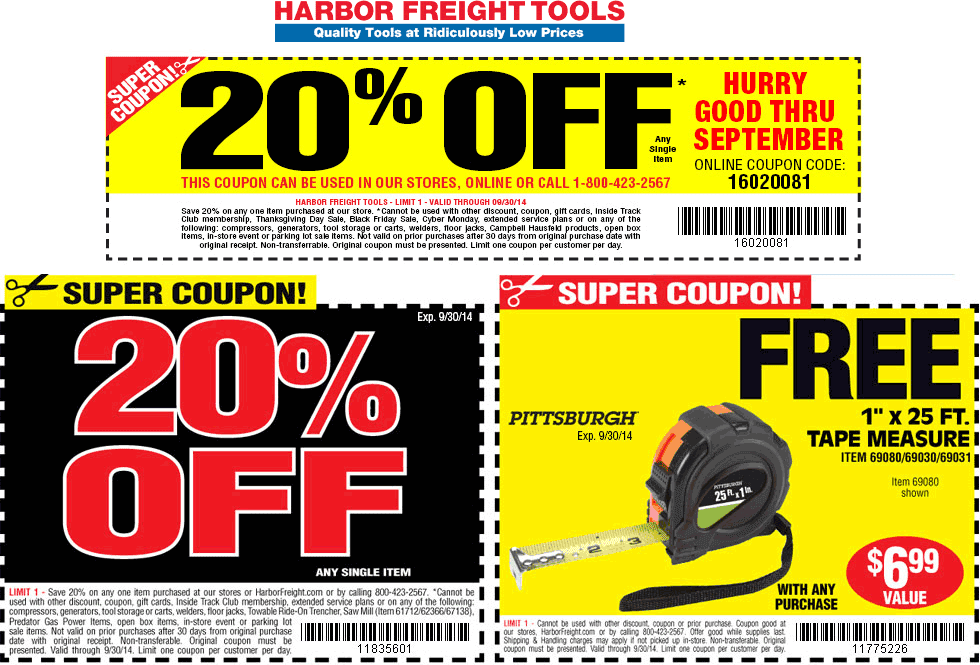 harbor freight free coupons march 2014