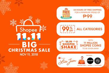 Shopee 11.11 Big Christmas Sale will feature 24 hours of free shipping with an all-time low minimum spend of ₱99 on November 11