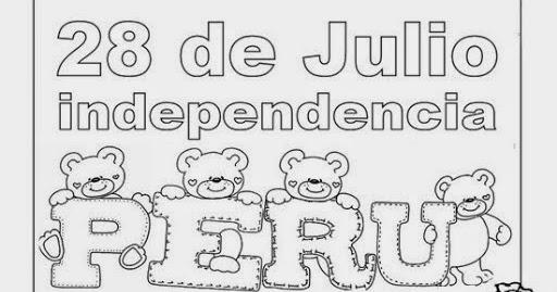 Dibujo del día de la Independencia de Perú para Colorear y