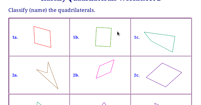 Free worksheets for classifying triangles and quadrilaterals
