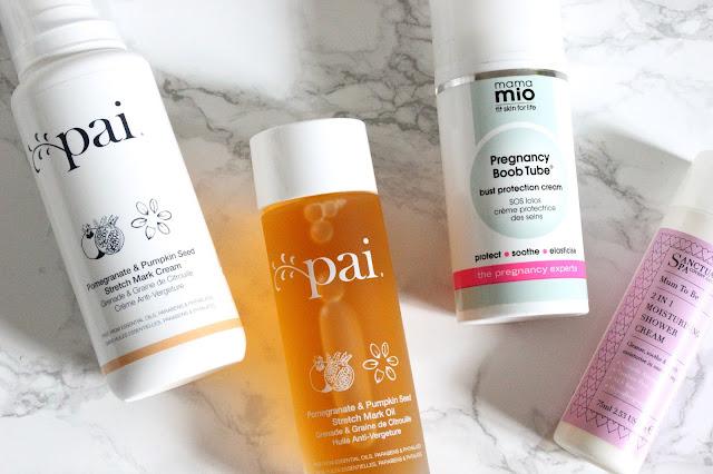 Pregnancy Body Essentials, Pai Stretch Mark System, Mama Mio Boob Tube, Sanctuary Mum-To-Be Shower Cream
