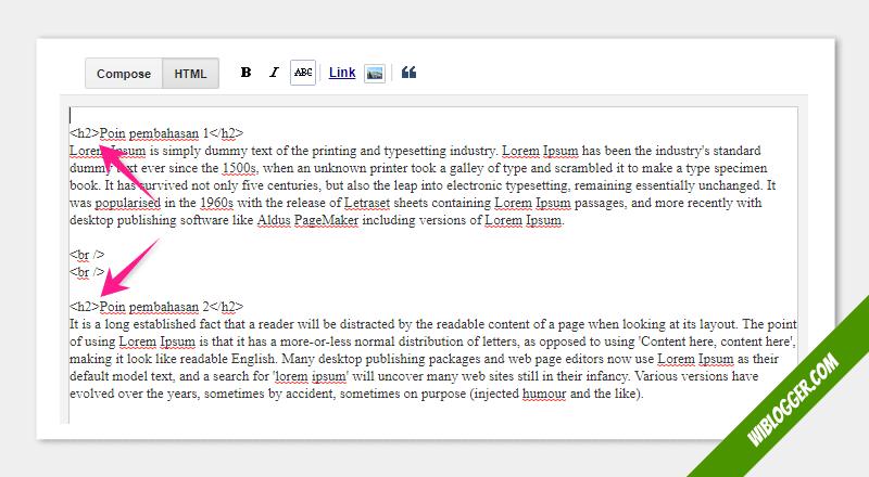 proses pembuatan daftar isi di dalam artikel blog