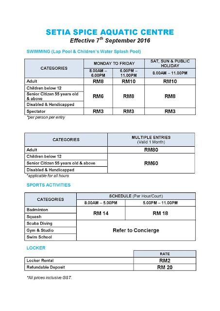 Harga tiket ke Setia Spice Aquatic Centre, harga bayaran masuk ke Spice aquatic centre, berapa bayaran tiket masuk ke SPice Aquatic Centre, Setia Spice Aquatic Centre Penang Fees,