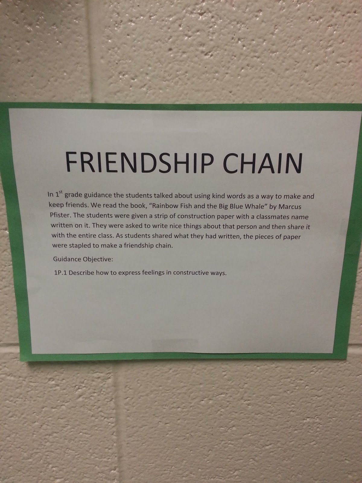 School Counseling Ideas Friendship Chain 1st Grade