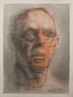 portrait grotesque decay deteriorate surreal charcoal crayon drawing