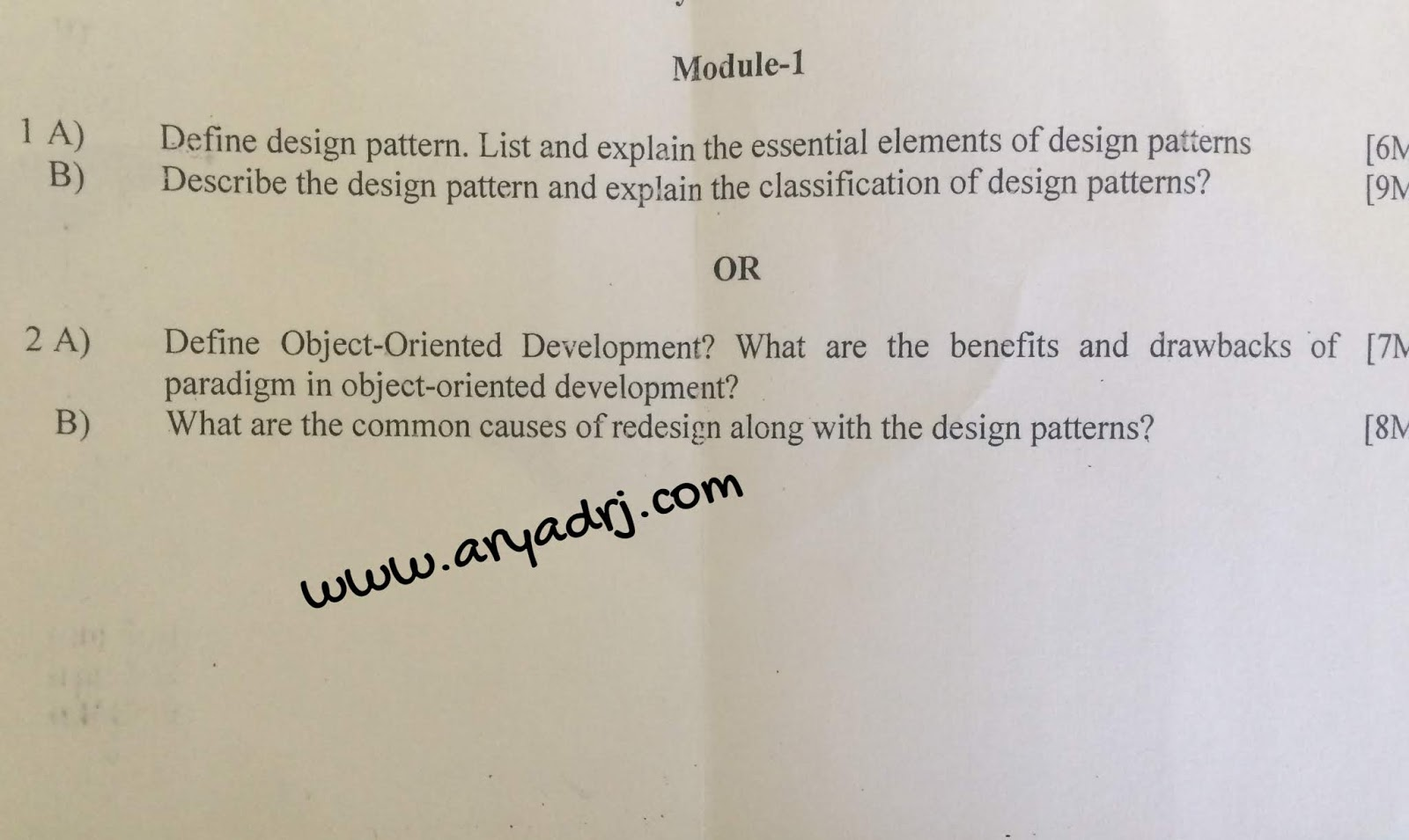 Software Architecture with design patterns (15is72)