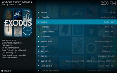 Select Exodus Kodi Addon from the list