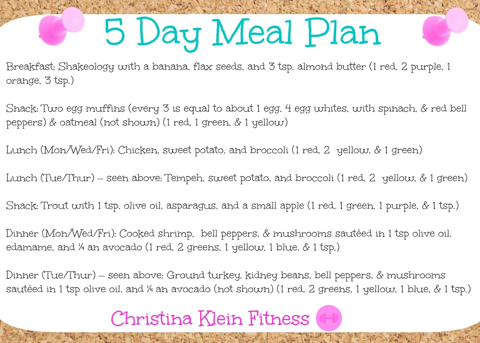 Blog 5 Day Meal Planning