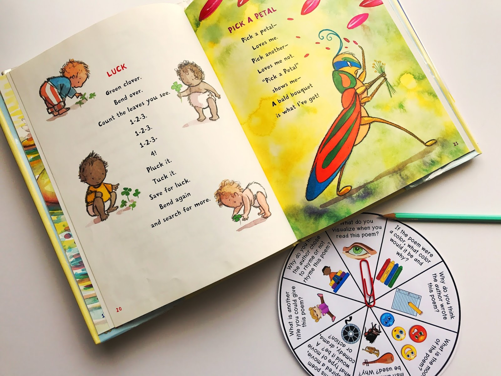 Provide students with a poetry discussion spinner to help guide students in conversation about the poems that they are reading in small groups.  This spinner is also great for guided reading.