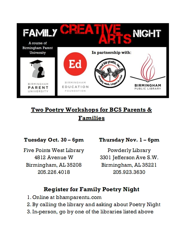 Creative Arts Nights poster