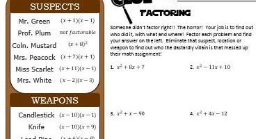 Mrs  Richardson's Adventures in Math Class: Factoring FUN!