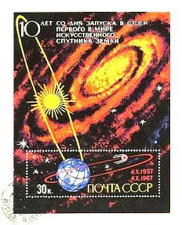 Un francobollo sovietico mostra l'orbita dello Sputnik 1.