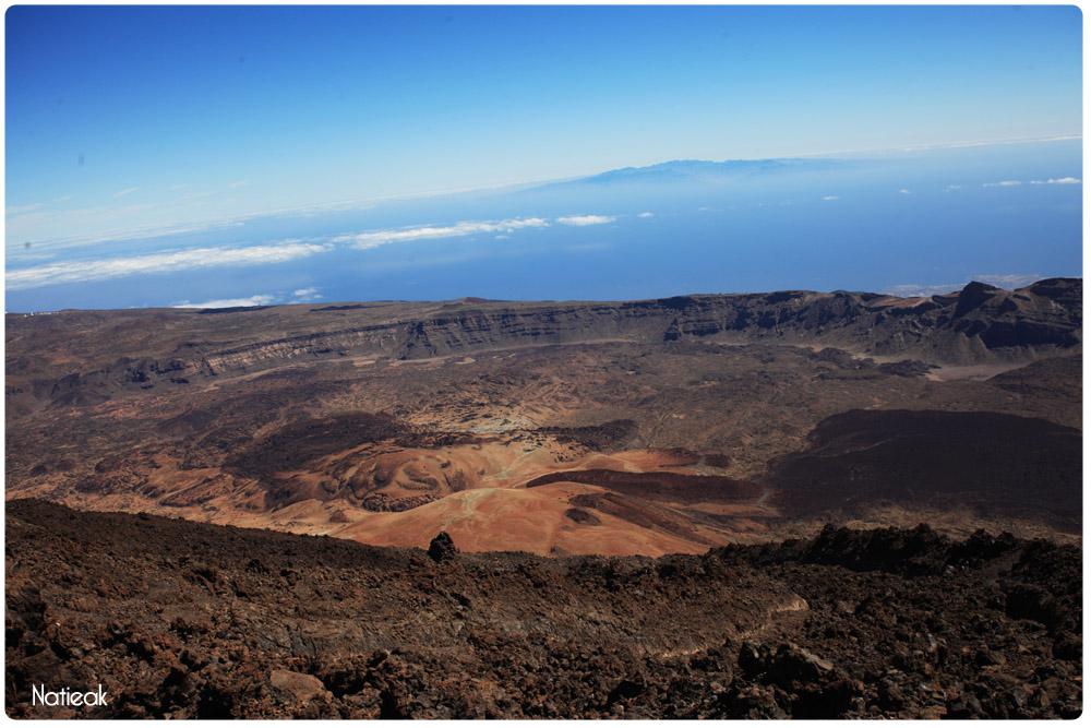 Vue du pic de Teide: au loin vue sur l'île Las Palmas