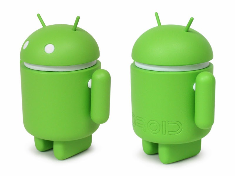 Standard Android logo is from a stripped-down robot with a tin-can-shaped torso and antennas on its head.