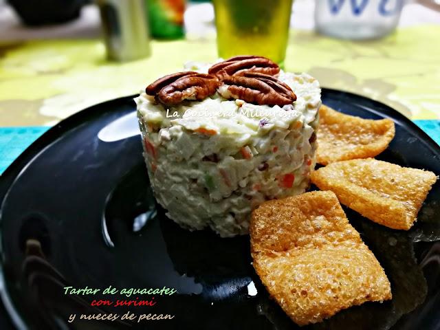 Tartar de aguacates con surimi y nueces de pecan