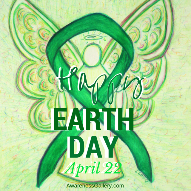 Happy Earth Day April 22 Green Awareness Ribbon Angel Art for Environmental Protection Awareness