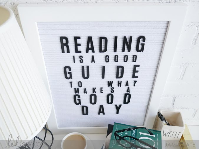 xSeptember 6 is Read A Book Day by Jamie Pate| @heidiswapp Letterboard VIgnette by @jamie Pate