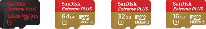 サンディスク「Extreme PLUS」マイクロSDカードの商品ラインナップ