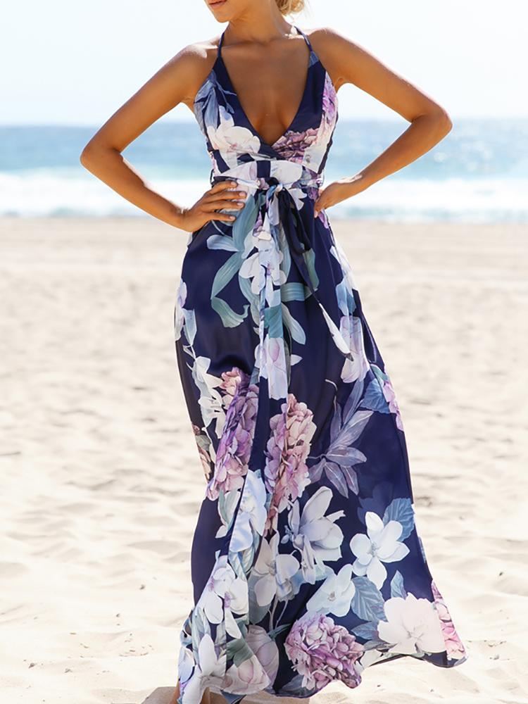 Bohemian Floral Crisscross Open Back Maxi Dress