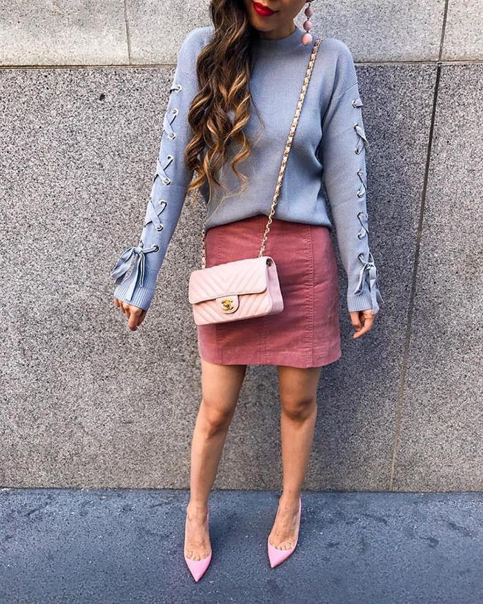 dusty blue lace up pull over, velvet pink skirt, chanel mini flap bag, christian louboutin pumps