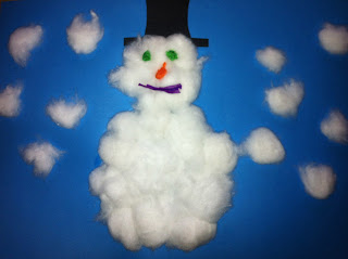 cotton wool ball snowman made by a toddler