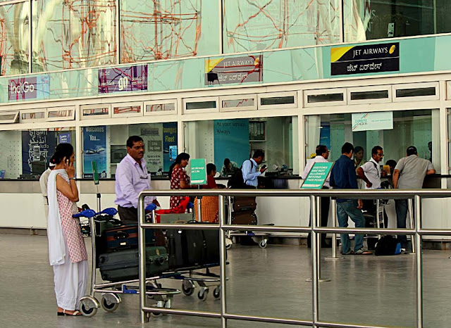 airline check-in counters at Bangalore airport