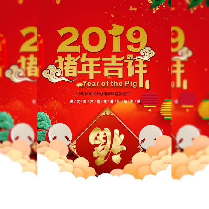 Happy Chinese New Year 2019 Year of the Pig Lucky PSD Layered Poster free psd