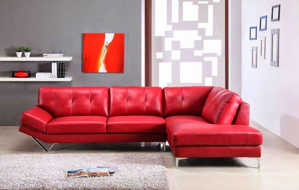 red leather sofa to decorate living room modern house