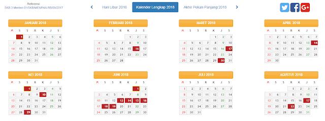 Download Kalender Tahun 2018 Disertai Libur dan Cuti Bersama
