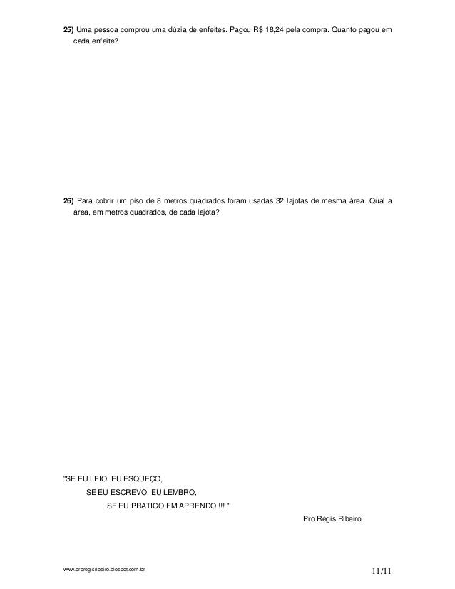 OPERAÇÕES COM NÚMEROS DECIMAIS EXERCÍCIOS