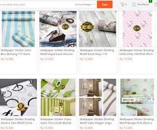 tempat jual wallpaper sticker roll murah secara online tokopedia