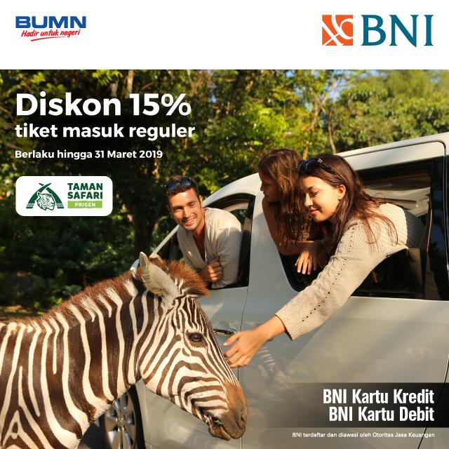 Bank BNI - Promo Diskon 15% Tiket Masuk Reguler Taman Safari Prigen (s.d 31 Mar 2018)