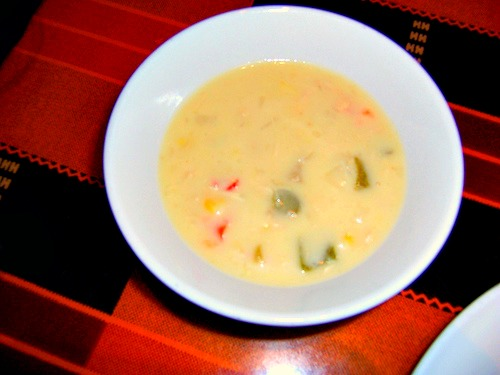 Chicken Corn Chowder Boma The Recipes Of Disney Ingredients: 2 Chicken Breasts, cooked and diced 1 pound Russet Potatoes, cooked and diced 2 cups Corn Kernels (frozen) 1/8 cup Onion, diced 1/8 cup Red Be