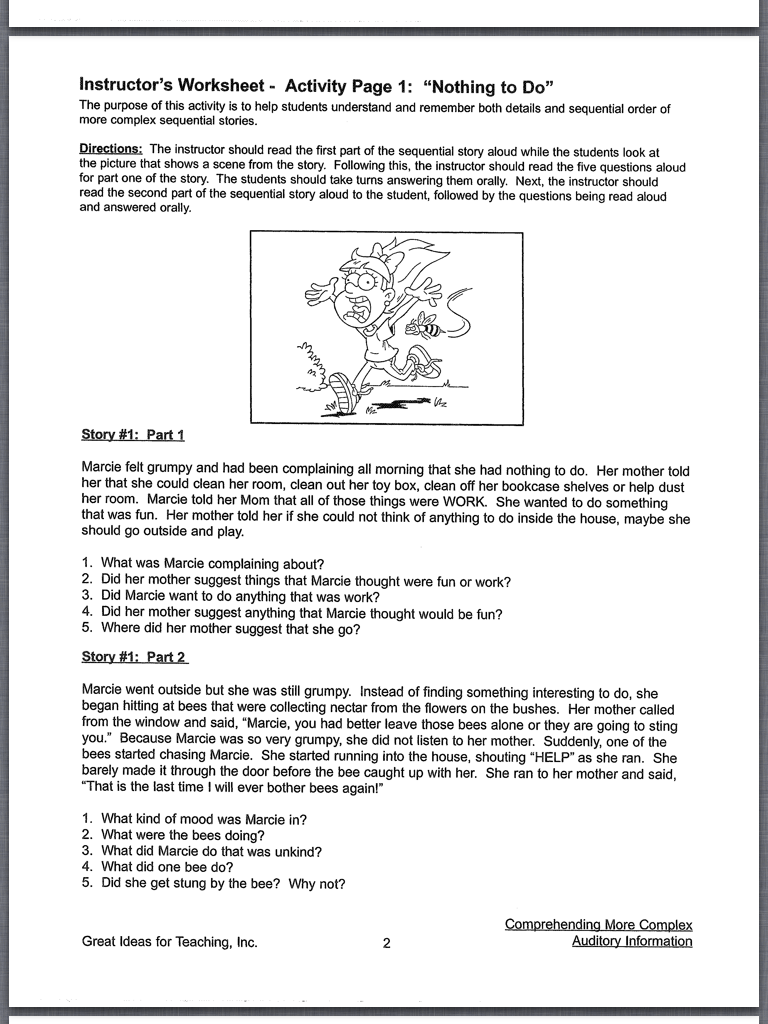 Worksheets Auditory Memory Worksheets lets talk speech and language auditory processing of higher level i use both books with my students to aggressively target note taking skills middle school is a time develop hone the sk