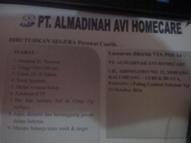 Lowongan Kerja di Padang – PT.Almadinah Avi Homecare – Perawat (Penutupan 21-10-2016)