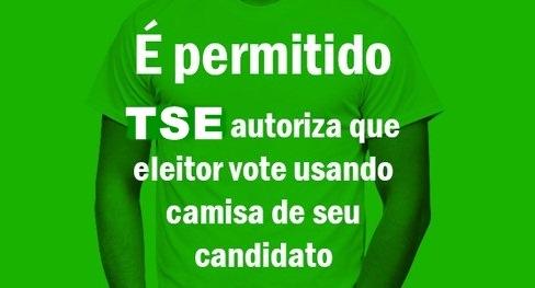 Resultado de imagem para TSE LIBERA ELEITOR PARA VOTAR COM CAMISETA DE CANDIDATO